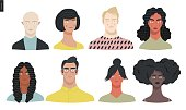Beautiful people portrait -hand drawn flat style vector design concept illustration of a young people, men and women, face and shoulders avatar, various races and nationalities. Flat style vector icon