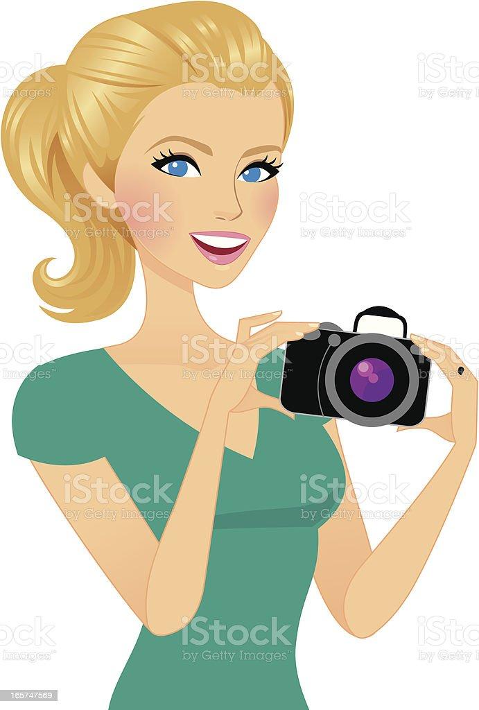 Beautiful Photographer vector art illustration