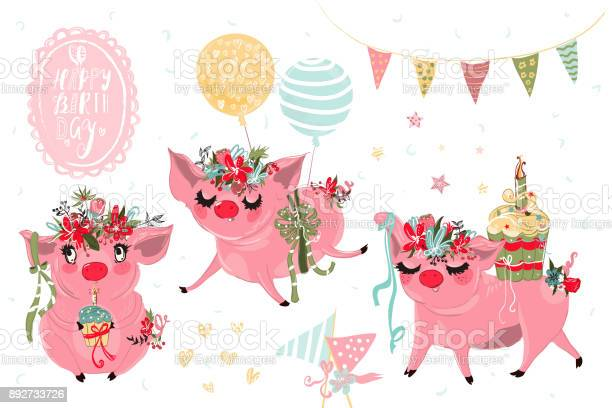 Beautiful piggy birthday vintage vector watercolor collection set of vector id892733726?b=1&k=6&m=892733726&s=612x612&h=iqs33rx0yicnrunjgcjxt4wybblwzhngzkiyeqxadqu=