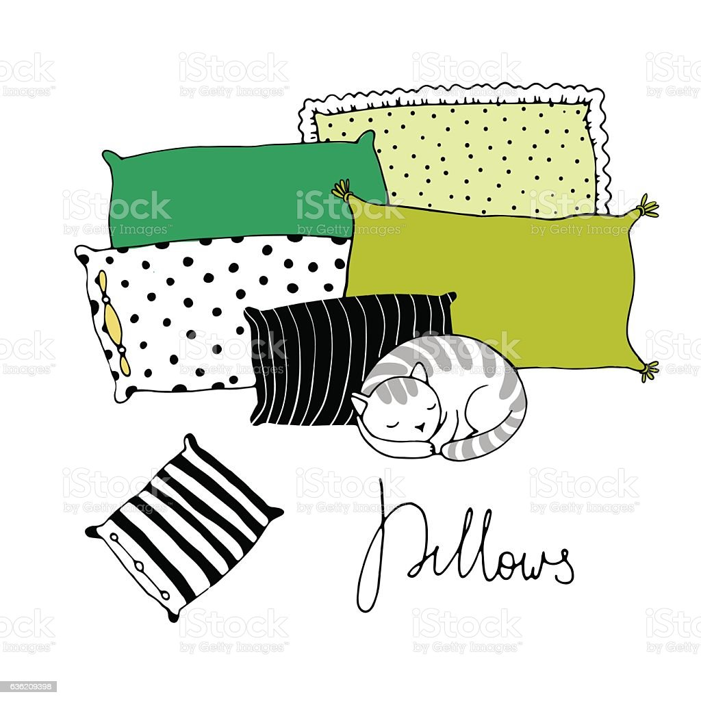 Beautiful pillows and cute cat on a white background. vector art illustration