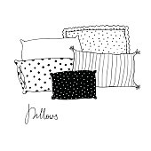 Beautiful pillows on a white background.