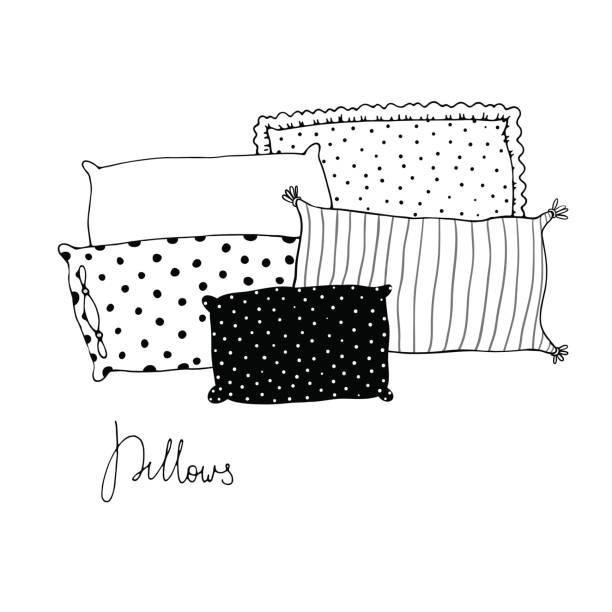 Beautiful pillows on a white background. vector art illustration