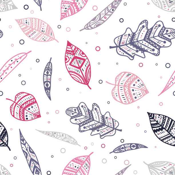 Beautiful pink and purple ornamental leaves seamless pattern, colorful, hand drawn seasonal background, great for fall autumn fashion prints, wallpapers, banners, textiles - vector surface design vector art illustration