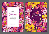 Beautiful pink and yellow alstroemeria lily flowers with lilies on purple background. Vector set of blooming floral for wedding invitations and greeting card design.