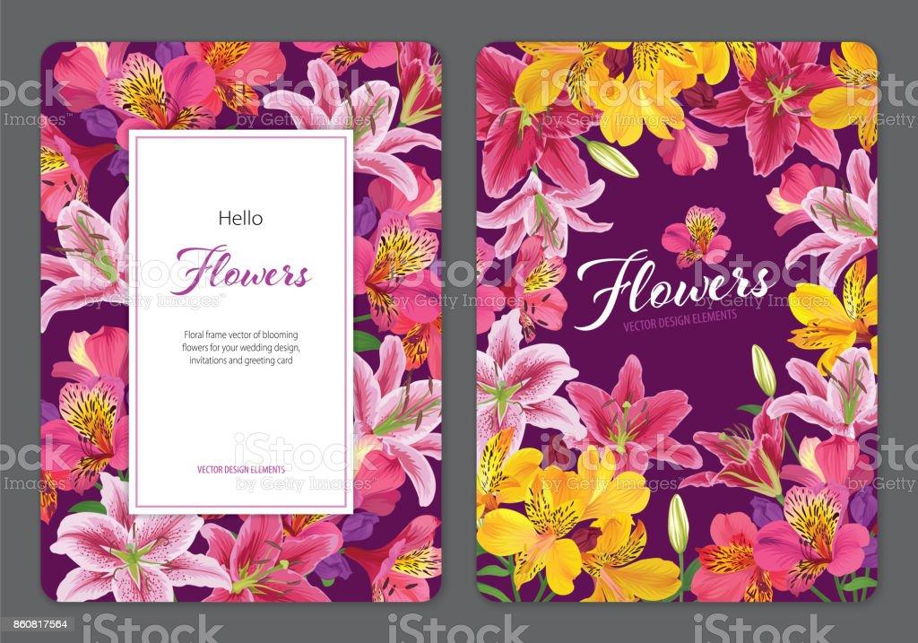 Flores de lirio hermoso alstroemeria rosa y amarillo con lirios sobre fondo púrpura. - ilustración de arte vectorial