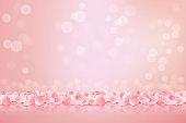 Beautiful pink background with blooming Sakura pink petals. Vector illustration.