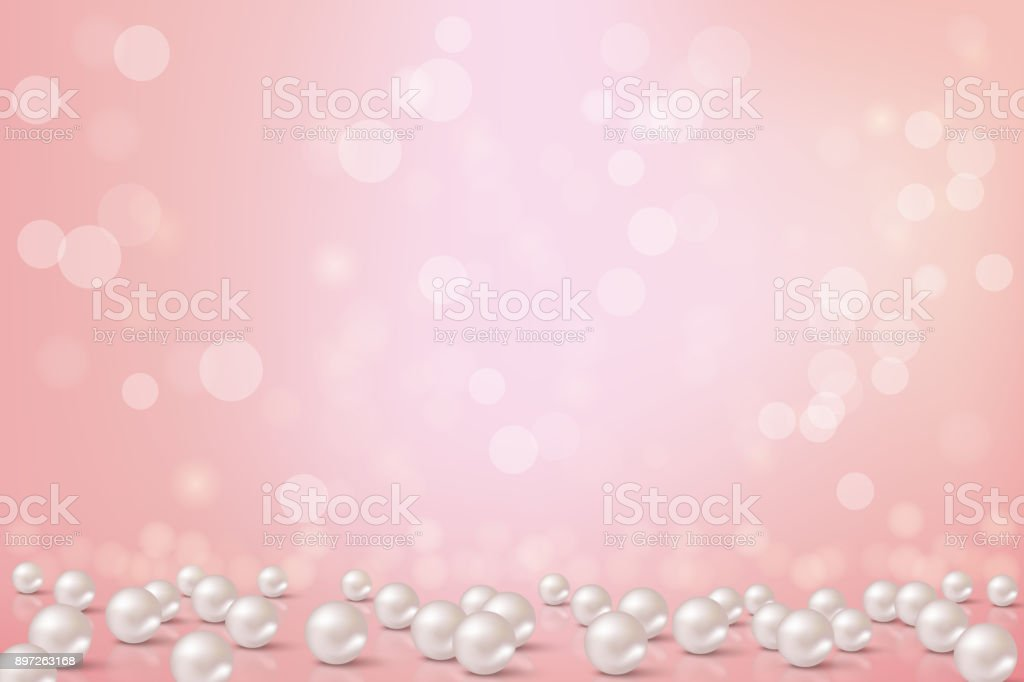 Beautiful pink background with pearls.Vector romantic illustration. vector art illustration