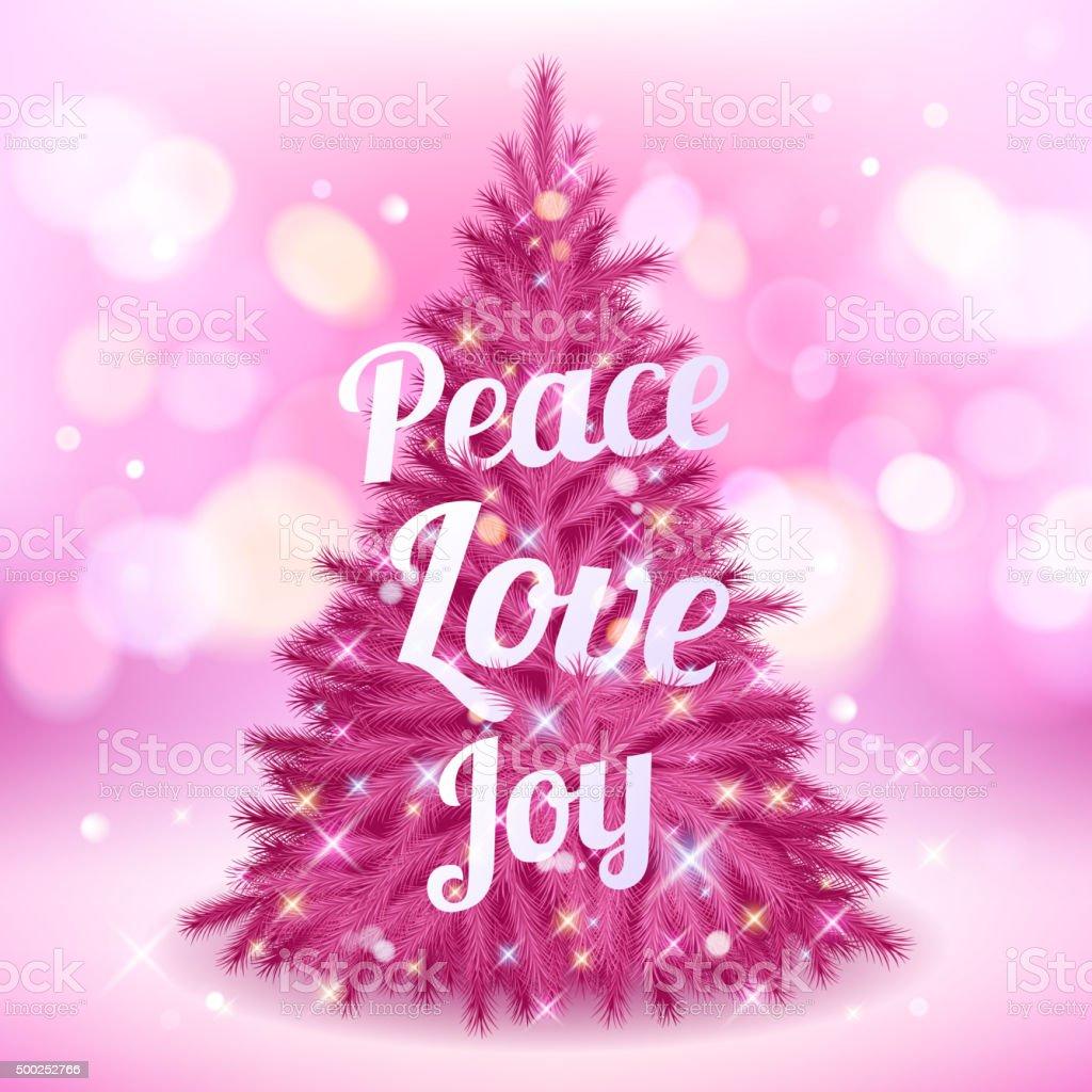 Rosa Weihnachtsbaum.Schöne Rosa Weihnachtsbaum Mit Viele Grüße Stock Vektor Art Und Mehr