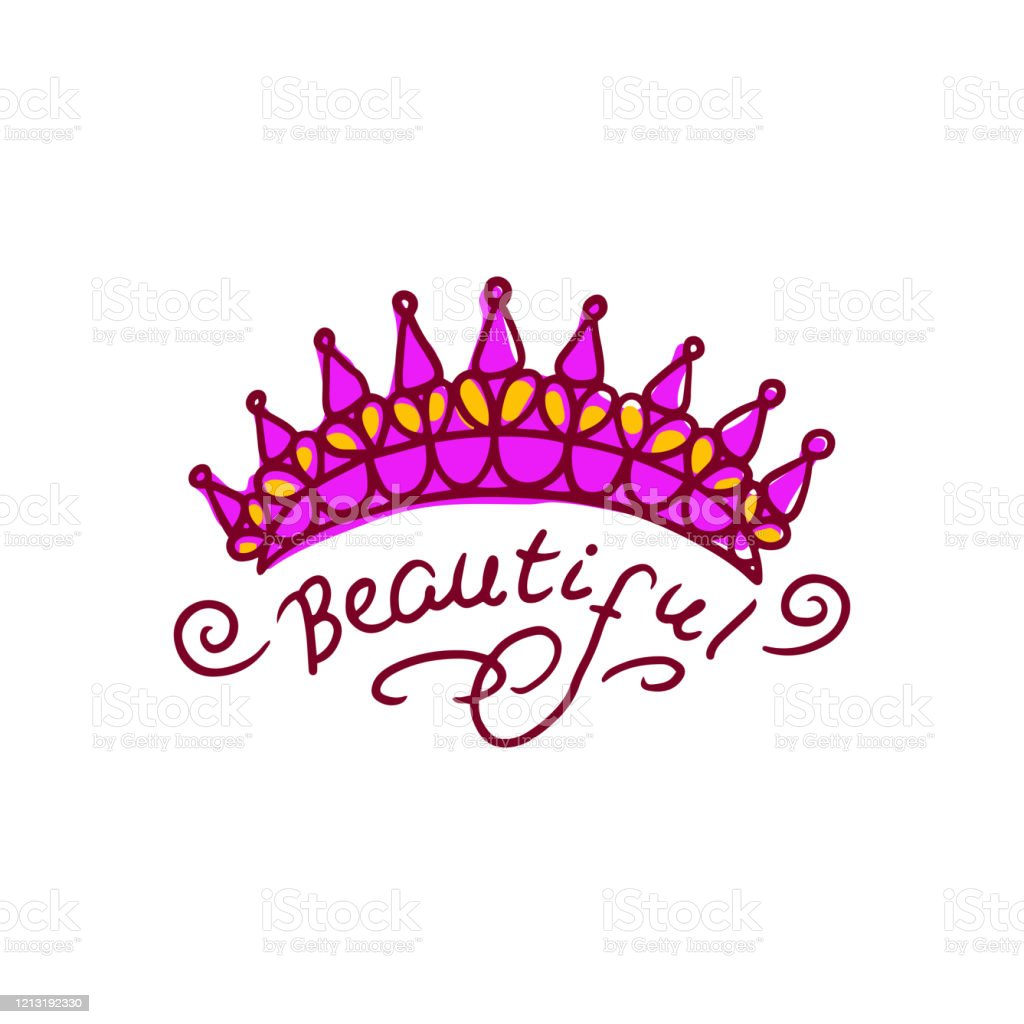 Beautiful Pink Crown Drawing Simple Hand Drawn Doodle Of Spiky Queen Tiara Stock Illustration Download Image Now Istock