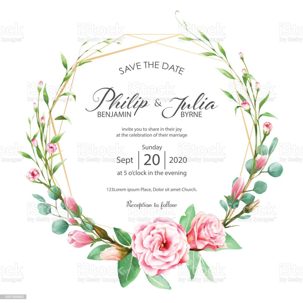 Beautiful Pink Floral Flower Wedding Invitation Card On White