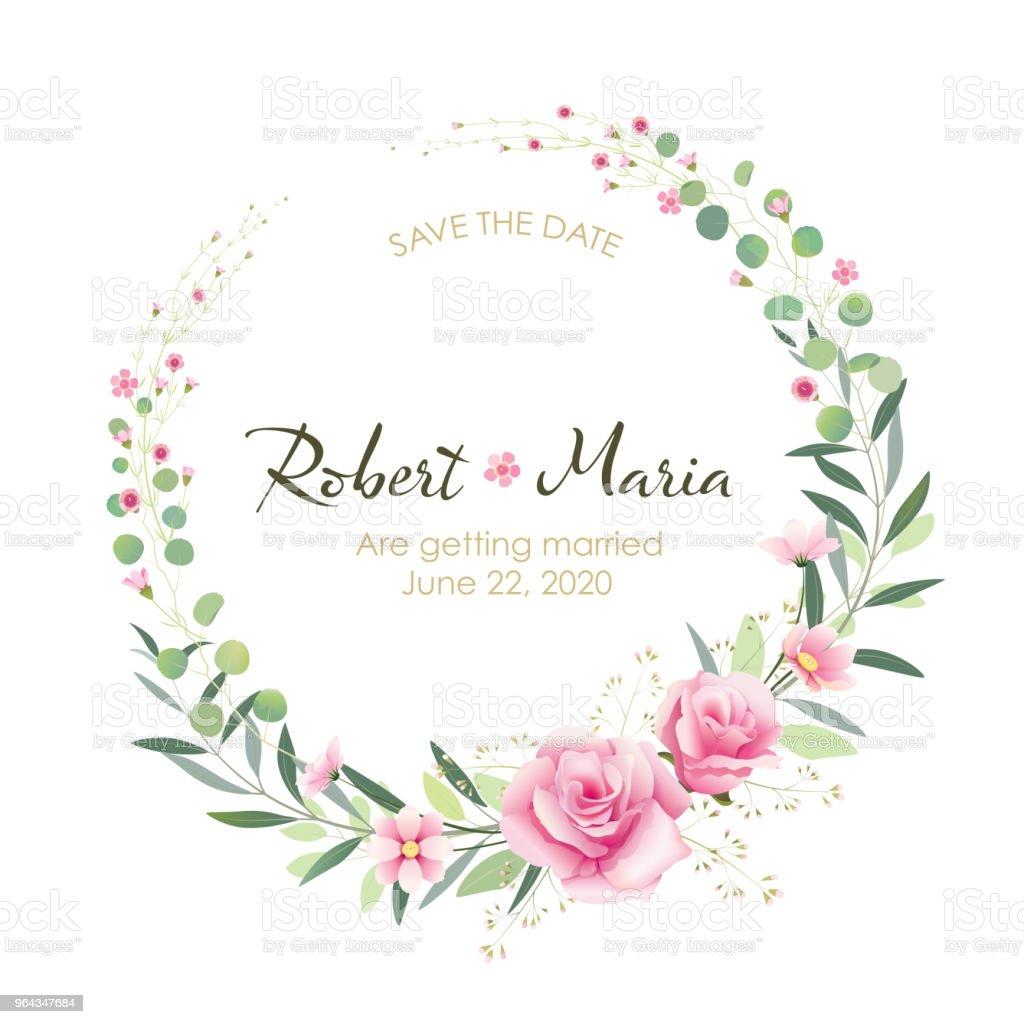 美しいピンク花結婚式招待状ベクトル夏の花 まぶしいのベクターアート