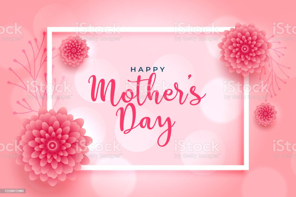 beautiful pink flower mothers day wishes card design stock