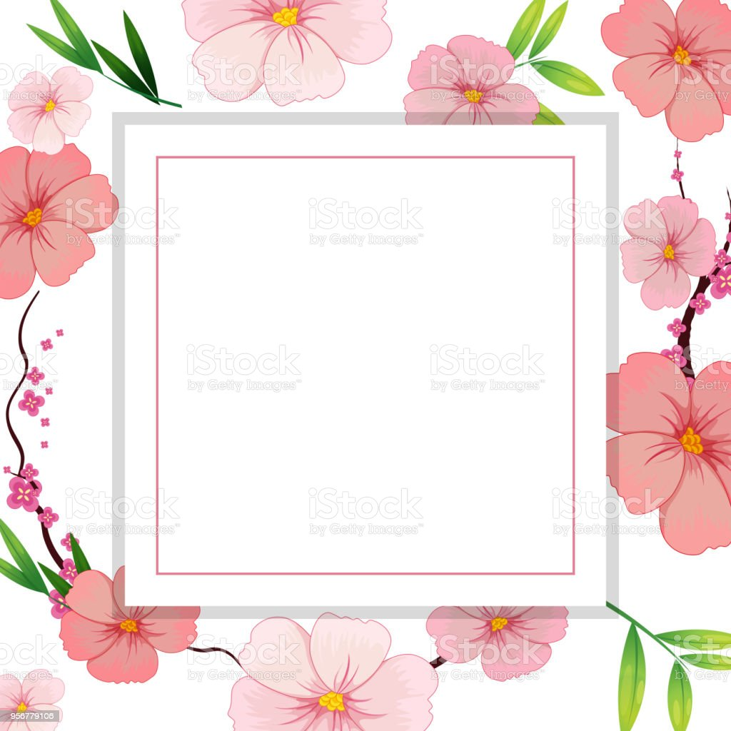 Beautiful Pink Hibiscus Flower Template Stock Vector Art More