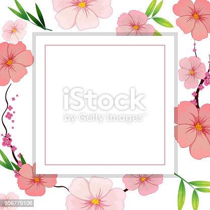 Schöne Rosa Hibiskus Blume Vorlage Stock Vektor Art und mehr Bilder ...