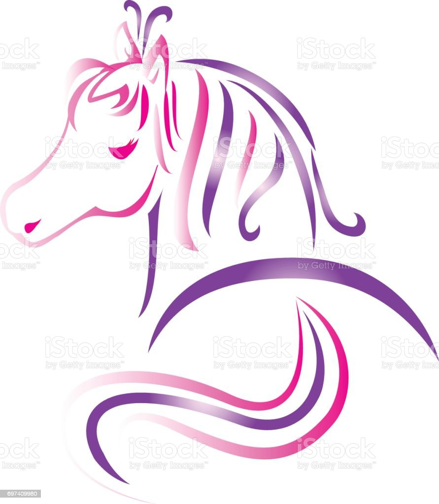 Beautiful Pink Horse Tattoo Vector Icon Stock Illustration Download Image Now Istock