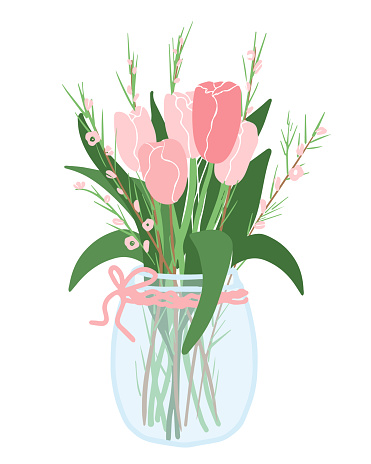 Beautiful pink tulips bouquet in vase. Bright and simple. Vector. Isolated on white background