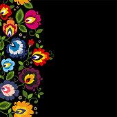 Beautiful Polish floral folk line seamless decoration vector art