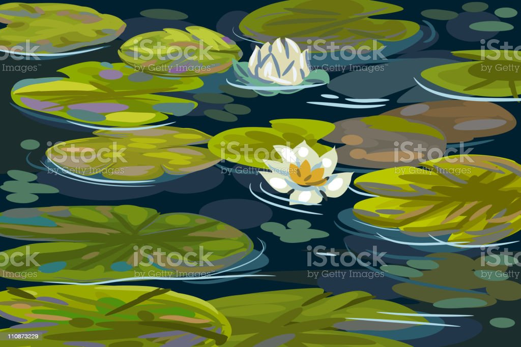 Beautiful Pond with Water Lilies royalty-free stock vector art