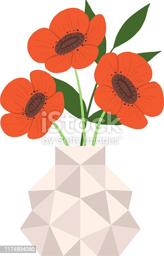 Beautiful Poppy Flowers in Caramic Vase, Bouquet of Blooming Flowers for Interior Decoration Vector Illustration on White Background.