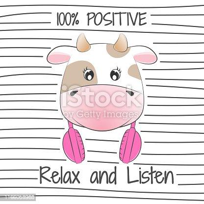 Beautiful positive cartoon cow love listen music.