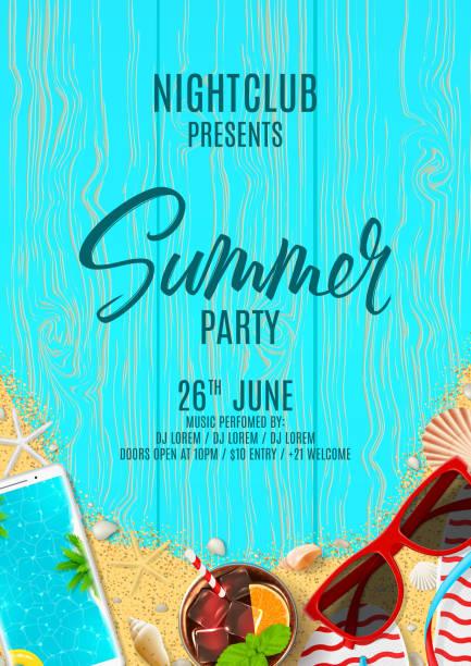 stockillustraties, clipart, cartoons en iconen met prachtige poster uitnodiging voor zomer feest - strandfeest