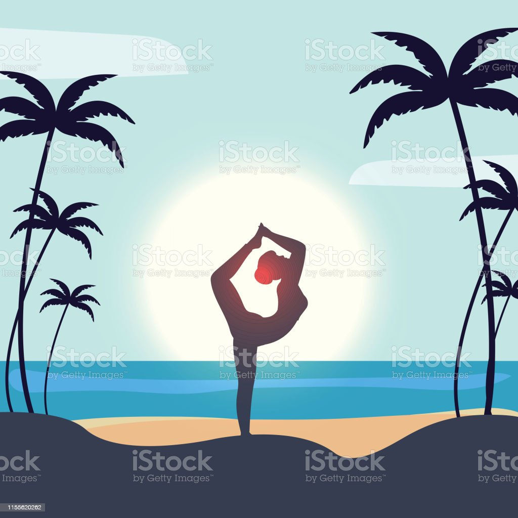Beautiful Poster Or Banner Design With Silhouette Of Woman In Yoga Pose On Beach View Background For International Yoga Day Space For Your Text Stock Illustration Download Image Now Istock