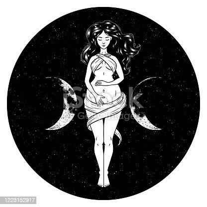 Beautiful pregnant woman figure, symbol of triple goddess, moon phases. Hekate, mythology, wicca, witchcraft. Vector illustration