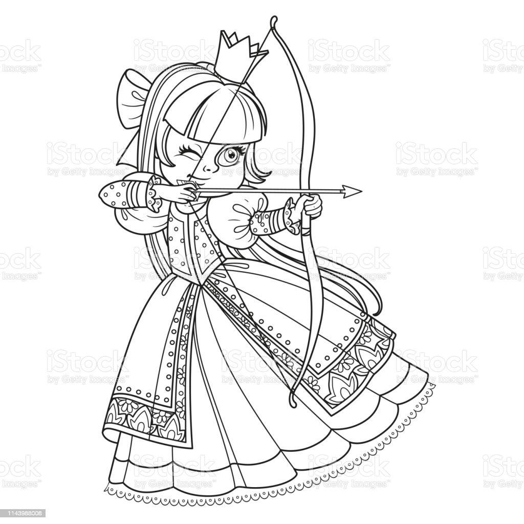 Beyaz Arka Planda Boyama Kitabi Icin Guzel Prenses Okcu Ozetlenen