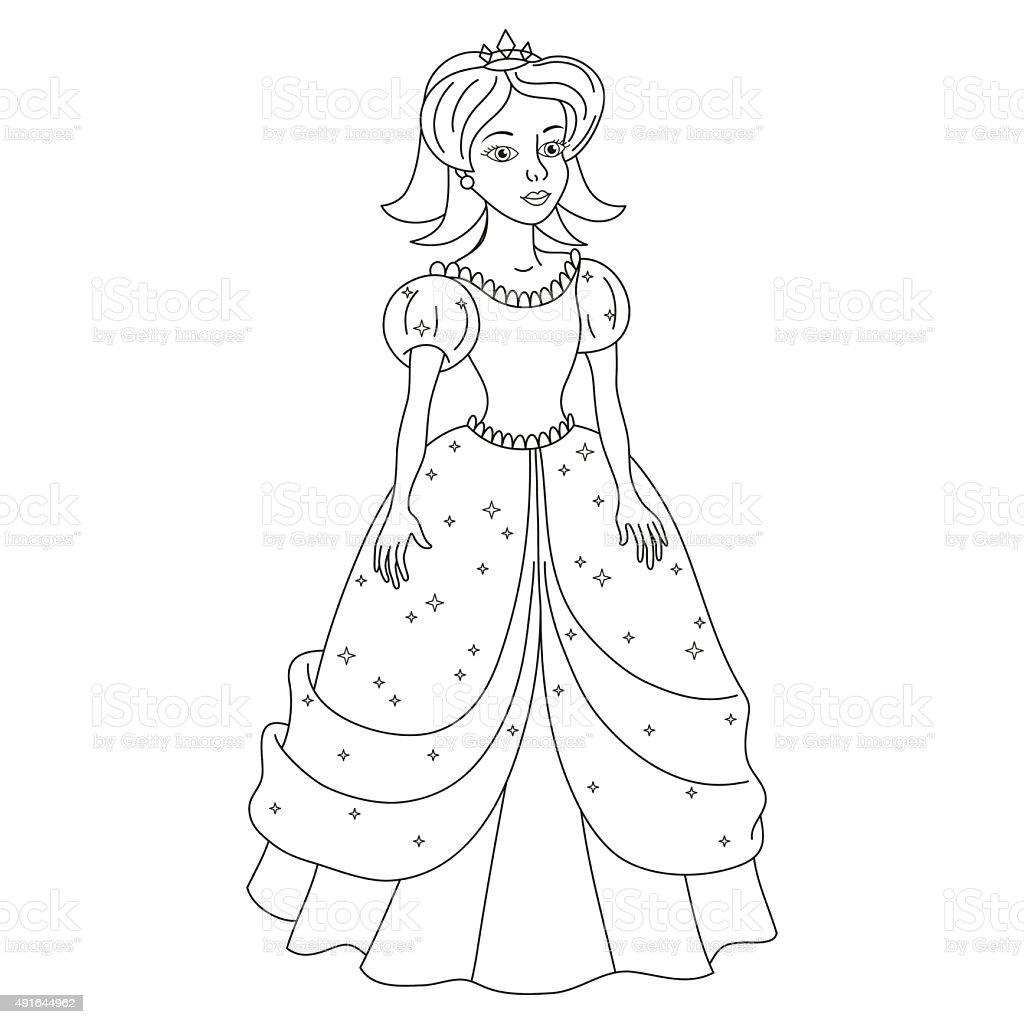 Magnifique princess girl Blanc comme neige, page de livre de coloriage - Illustration vectorielle