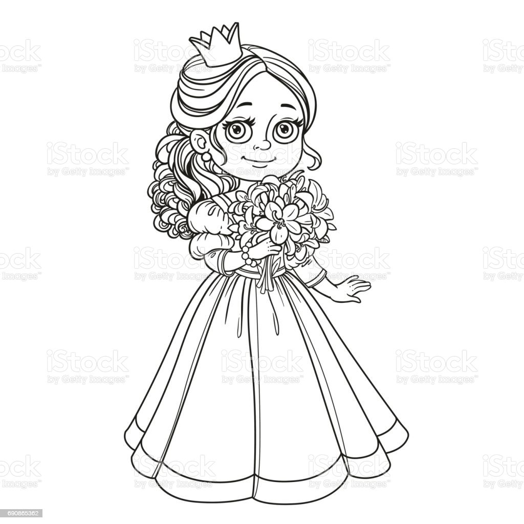 Beautiful princess holding bouquet of lilies in hand outline for vector art illustration
