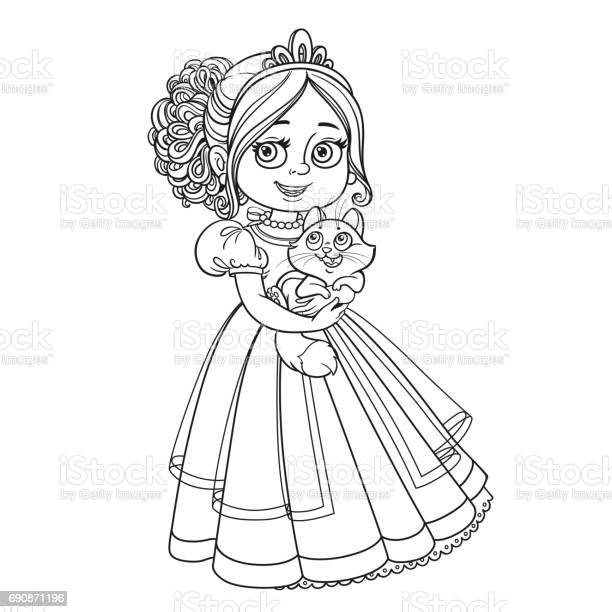Beautiful princess holding kitten on hands outlined picture for vector id690871196?b=1&k=6&m=690871196&s=612x612&h=fewystg yfarf uruy49pg5ie6uyotp 9tcngqjl pu=