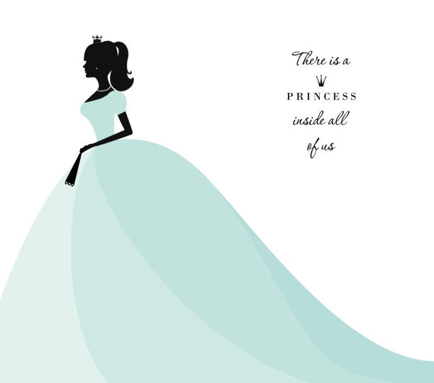 Beautiful princess silhouette in pastel blue dress. Isolated on white. Can be used for bridal shower invitation. Beautiful princess silhouette in pastel blue dress. Isolated on white. Can be used for bridal shower invitation. Vector. wedding dress stock illustrations