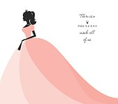 Beautiful princess silhouette in pastel pink dress. Isolated on white. Can be used for bridal shower invitation.