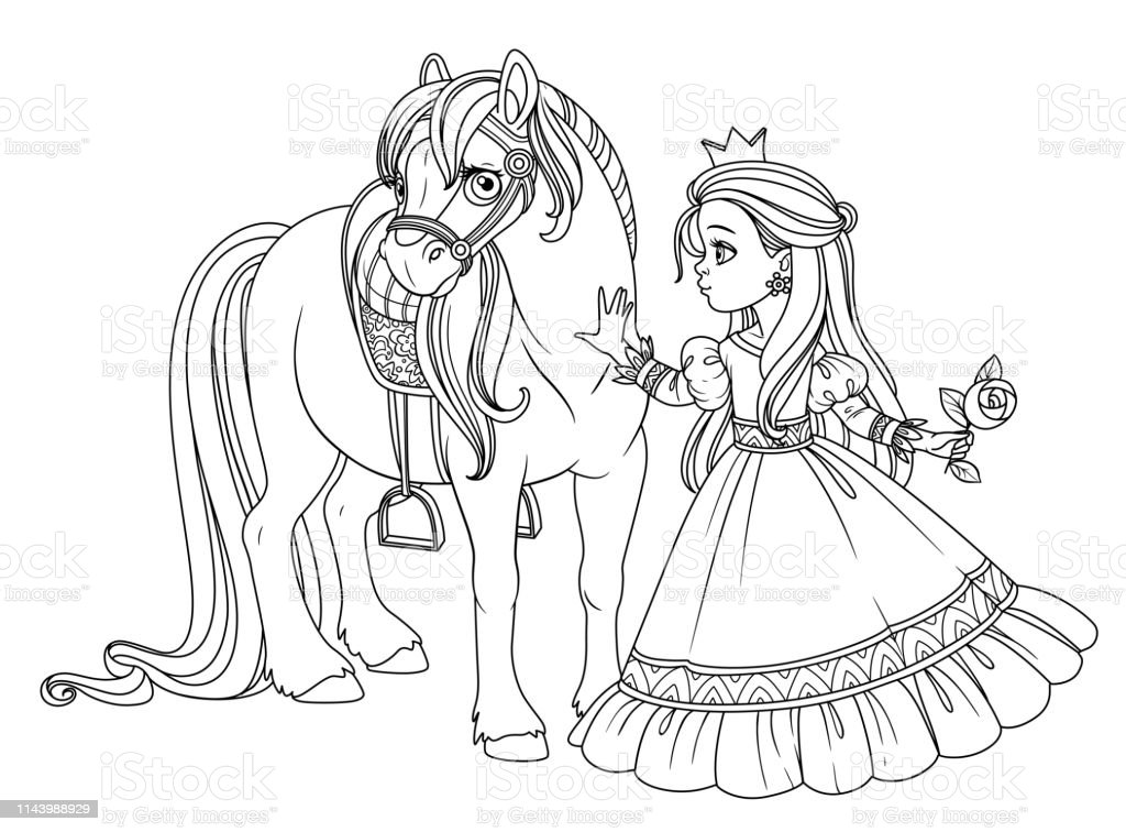 - Beautiful Princess Stroking A Horse Outlined Picture For Coloring Book On  White Background Stock Illustration - Download Image Now - IStock