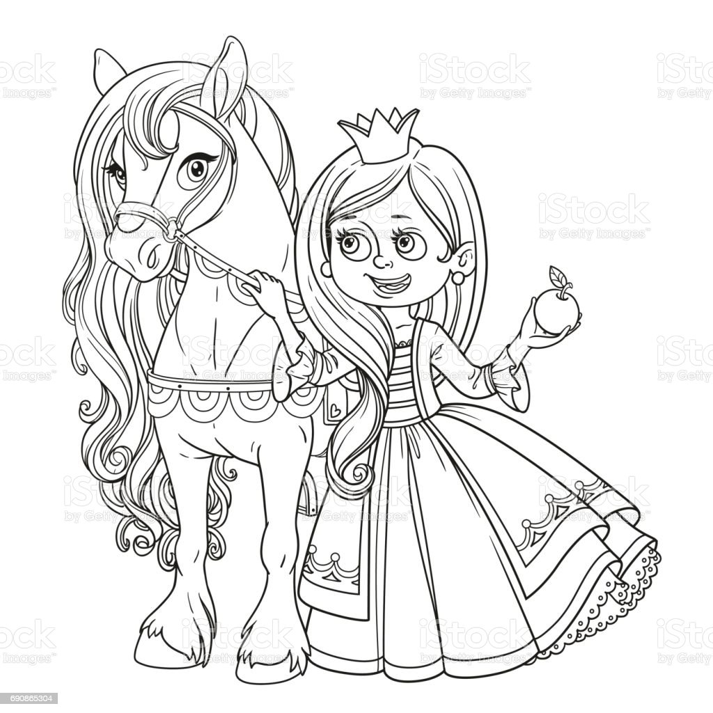 Beautiful Princess With Horse Outlined Picture For Coloring Book ...