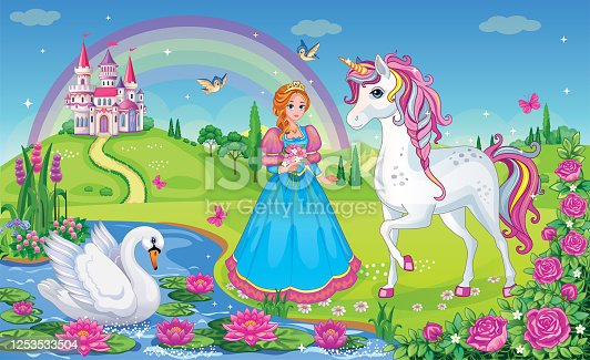 istock Beautiful Princess with white unicorn and Swan. Fairytale background with flower meadow, castle, rainbow, lake. Wonderland. Magical landscape. Children's cartoon illustration. Romantic story. Vector. 1253533504