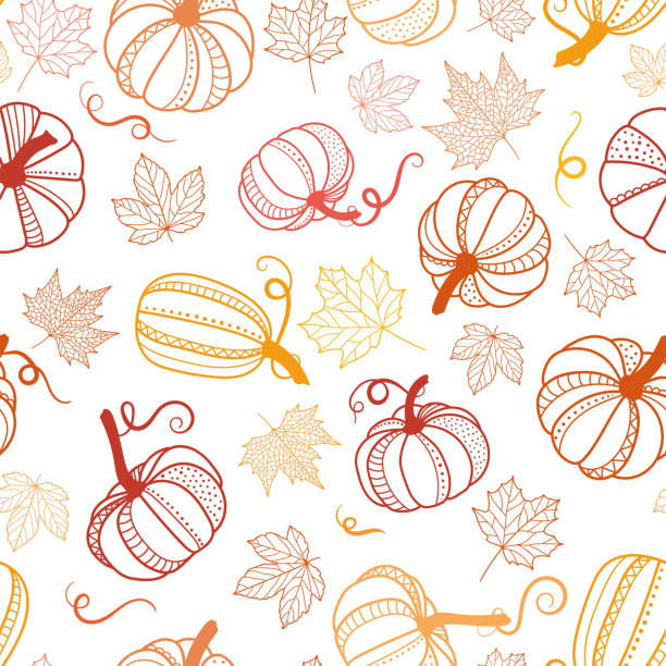 beautiful pumpkin halloween thanksgiving seamless pattern, cute catroon pumpkins hand drawn background, great for seasonal textile prints, holiday banners, backdrops or wallpapers - vector surface veggies_pupmkin_detail_texture_seaml - pumpkin stock illustrations