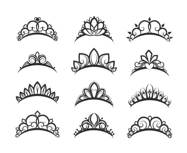 Beautiful queen tiaras set Vector tiara set. Beautiful queen tiaras or princess crown silhouettes for wedding cards and vignettes diademe stock illustrations