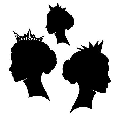 beautiful queen wearing royal crown black vector silhouette profile portrait