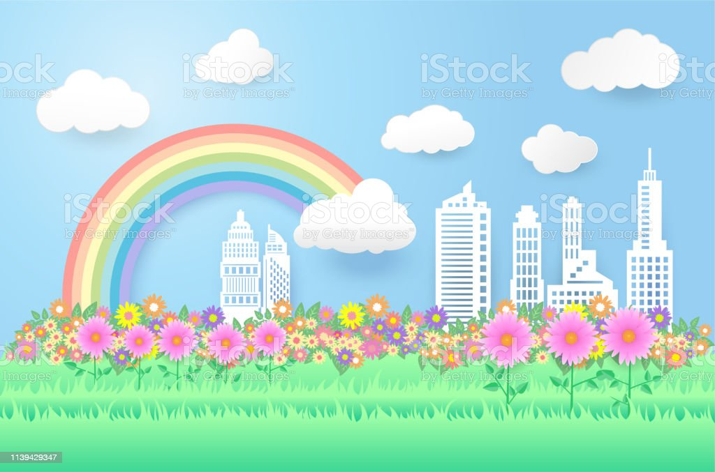 beautiful rainbow and flowers in the city scape , paper art style