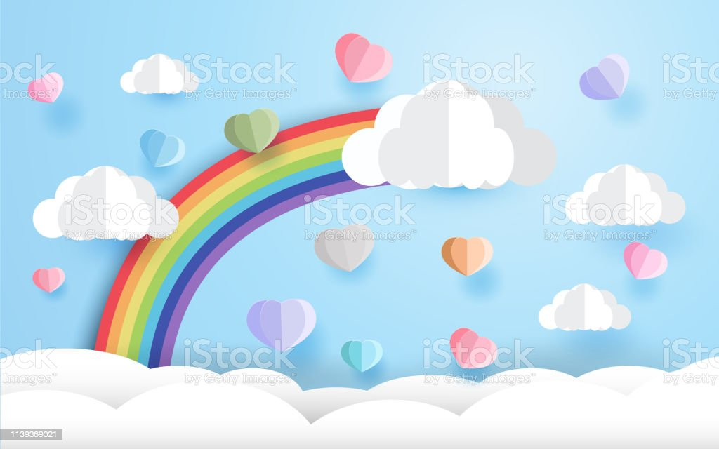 beautiful rainbow and heart , paper art style, Valentines Day, vector...