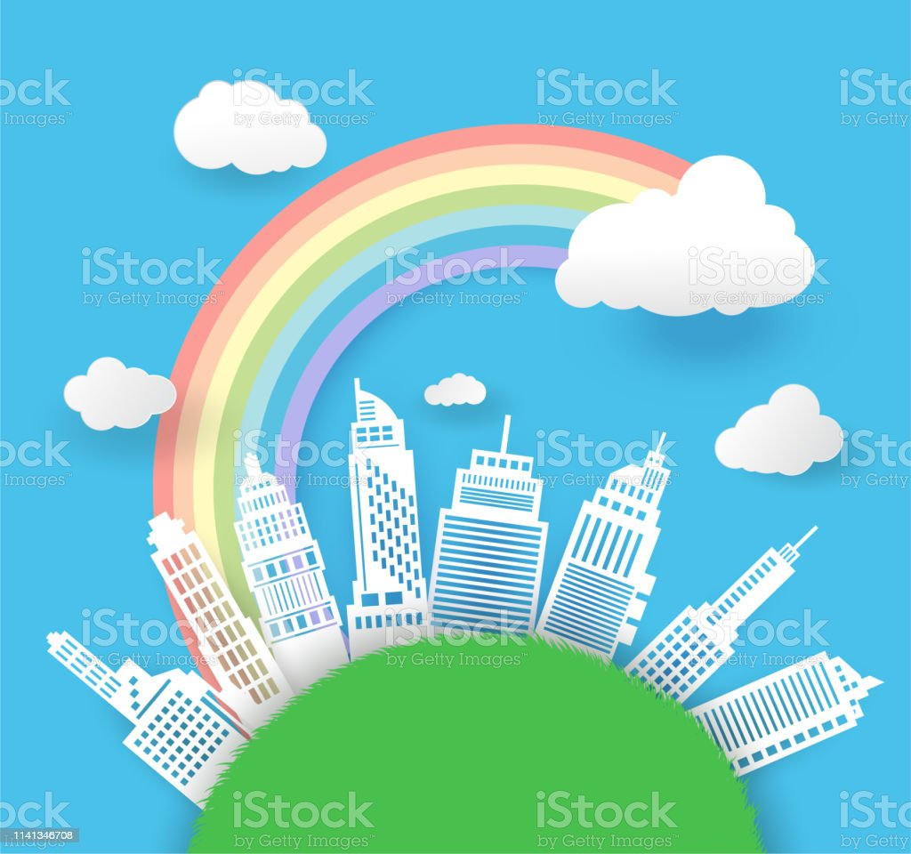 beautiful rainbow in the city scape , paper art style,vector design