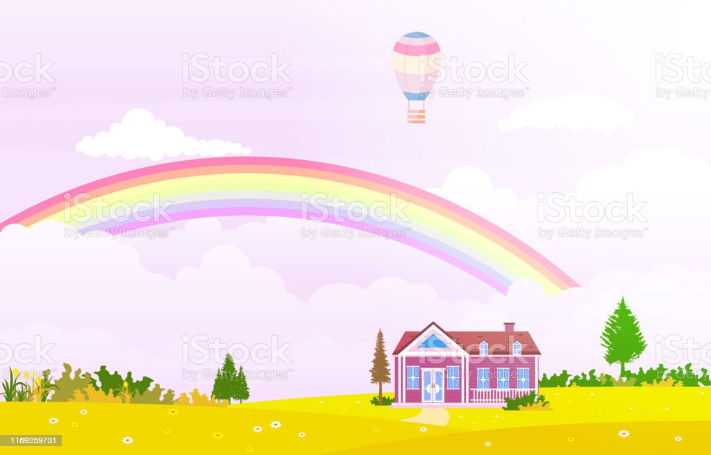 Beautiful Rainbow Sky with Green Meadow Mountain Nature Landscape...