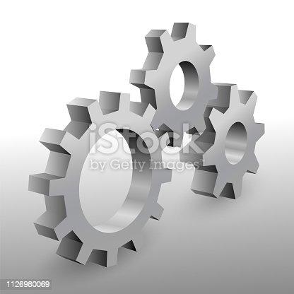 Beautiful realistic 3D metal cogwheels on white background.