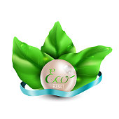 Beautiful, realistic bright green, fresh and natural leaves fan, dew water drops and beige pearl and blue silk banner (ribbon) with Eco lettering and shadow on white background