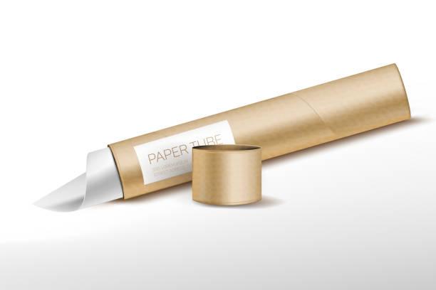 Beautiful, realistic cardboard tube Beautiful, realistic cardboard tube (or paper tube) with cap and shadow tube stock illustrations