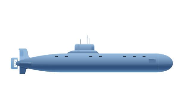 illustrations, cliparts, dessins animés et icônes de belle sous-marin métallique réaliste. navire de guerre, véhicule sous-marin, vue latérale. - sous marin