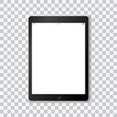 Beautiful realistic vector of a modern black colored tablet on transparent background with white screen template showing time, battery life, wifi and a mobile signal.