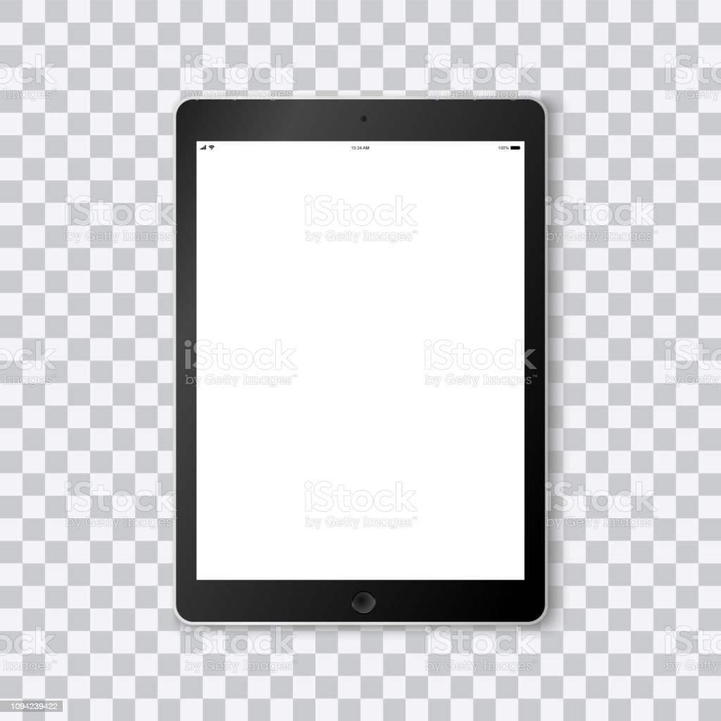 Beautiful realistic vector of a modern black colored tablet on transparent background with white screen template showing time, battery life, wifi and a mobile signal. vector art illustration