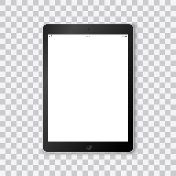 beautiful realistic vector of a modern black colored tablet on transparent background with white screen template showing time, battery life, wifi and a mobile signal. - tablet stock illustrations